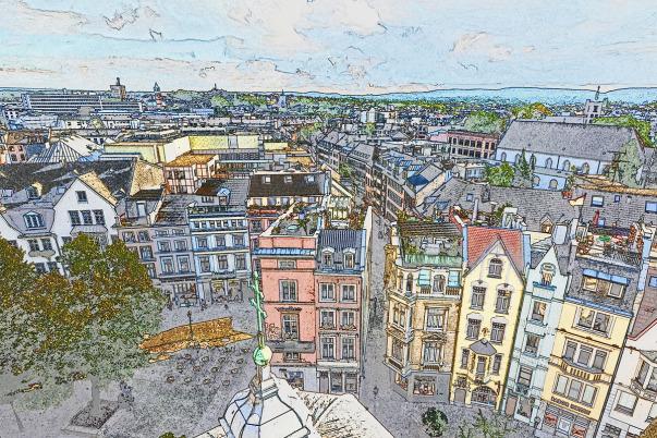 Blick vom Turm des Aachener Doms auf den Münsterplatz /Foto: JosWaS